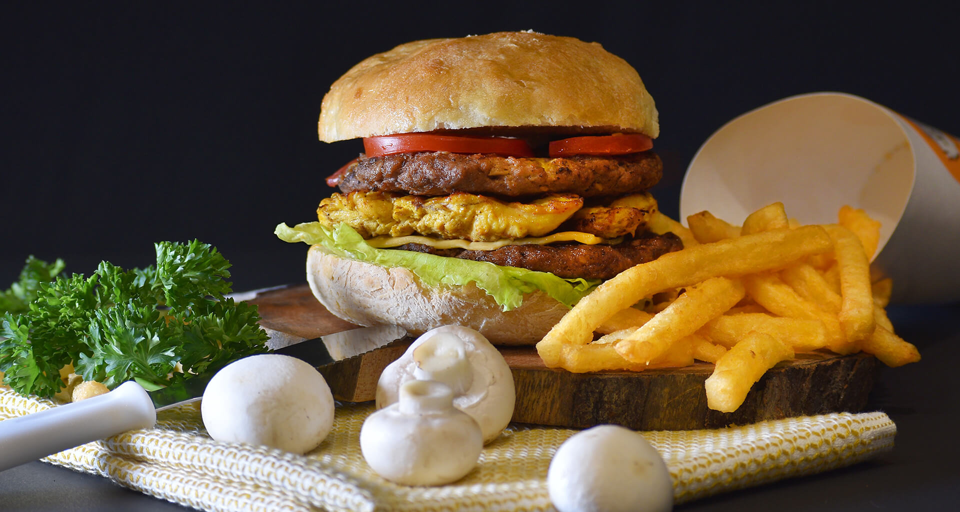 burger with fries and mushroom